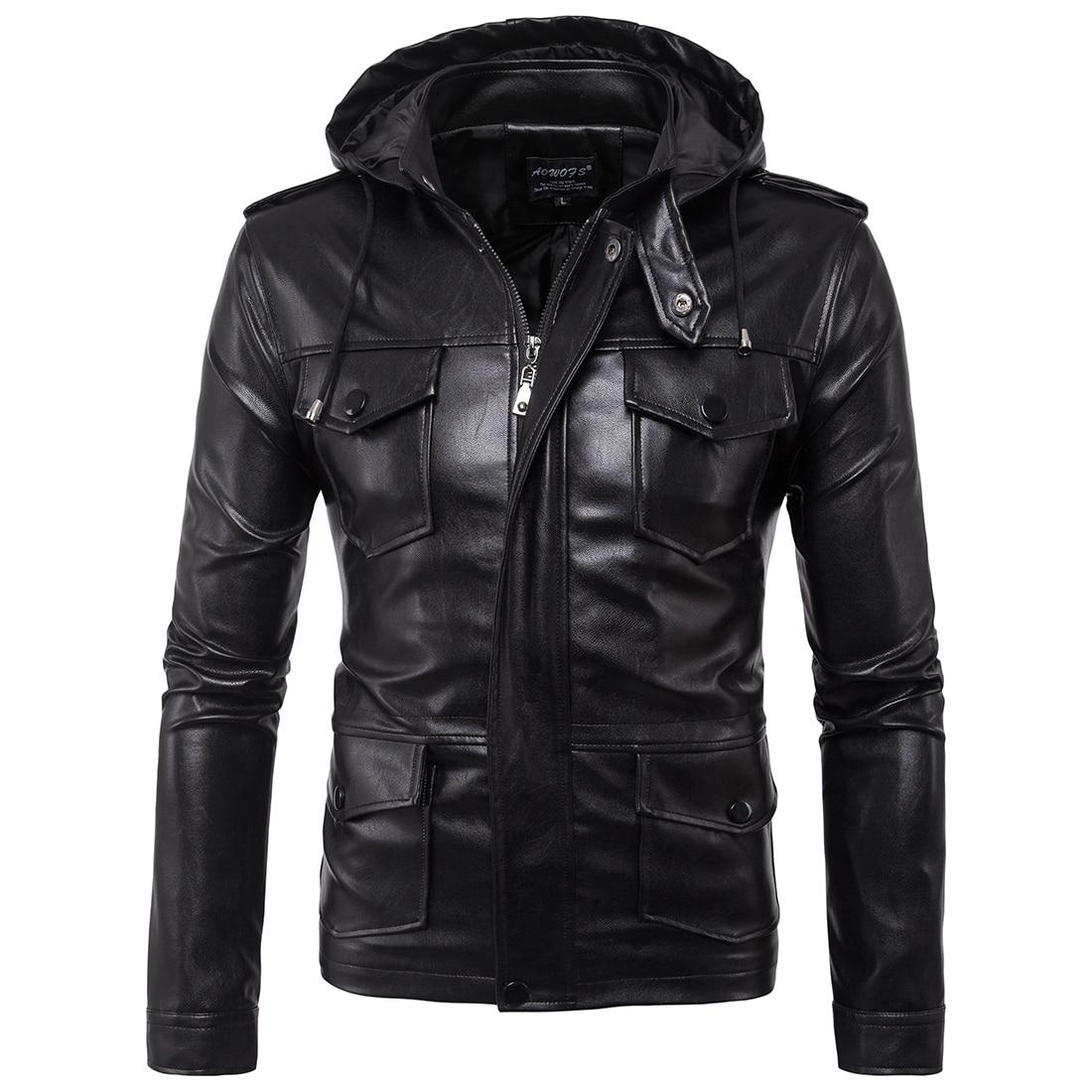 2017 Europe United States men s motorcycle hooded jacket men leather jacket multi pocket cargo coat