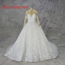 2018 Royeememo long sleeve ball gown Lace wedding dress