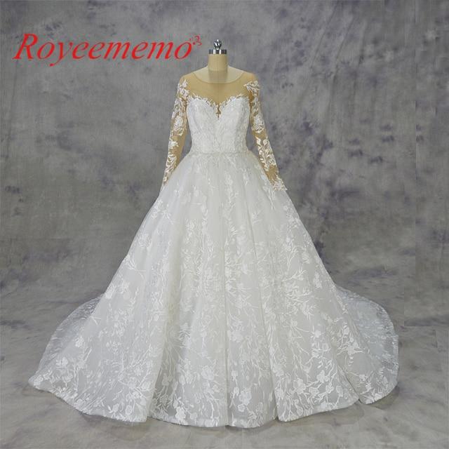 2018 Royeememo طويلة الأكمام الكرة ثوب الدانتيل فستان الزفاف