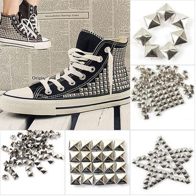 1000Pcs Vintage 10mm Pyramid Metal Spike Square Studs Decorative Rivet For Leather Punk Bag Clothes Craft Silver Color Wholesale