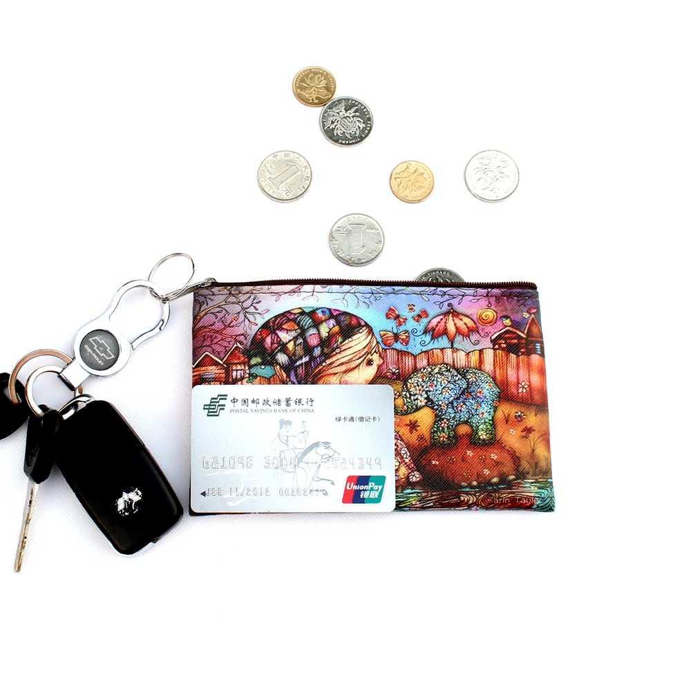 Girafas coruja Elephant Imprimir coin purse Mulheres dos desenhos animados de zero carteira Senhoras bolsa da mudança de embreagem do Sexo Feminino Com Zíper saco de moedas bolsa #5
