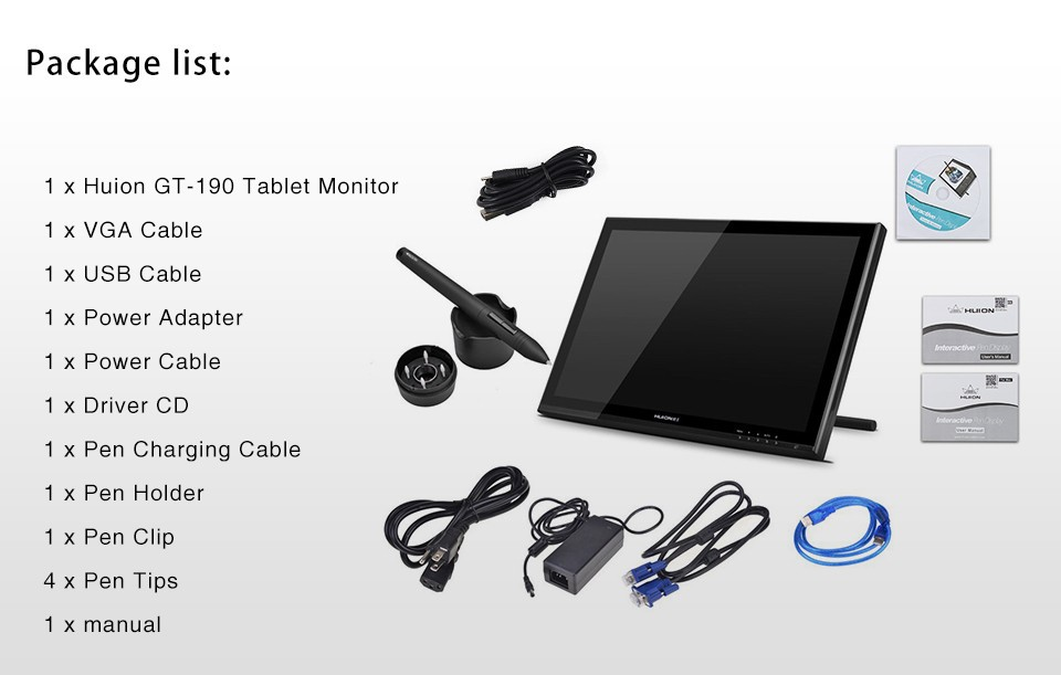 New Huion GT-190 19″ Interactive Graphics Tablet Monitor