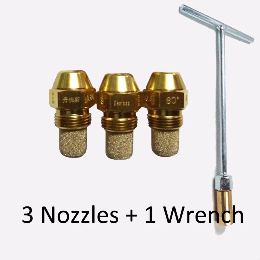 3pcs 80* Degrees 0.85 GPH Solid Type S / B DANFOSS Oil Burner Nozzle With Free Wrench ES/ R/ AS /P /PLP