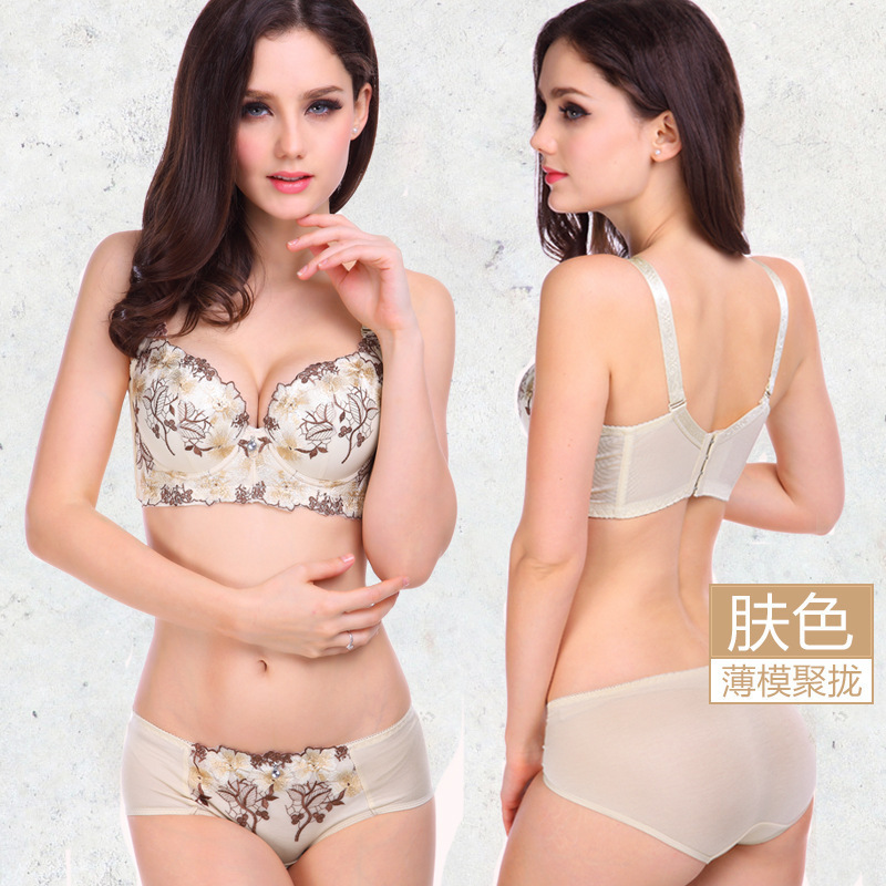 Women   bra     set   2016 6 Colors sexy push up   bra     set   women embroidery plus size   bra   and panty   set   women underwear   set