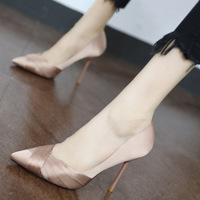 2019 autumn high heel stiletto black satin sexy net red pointed single shoes etiquette work shoes