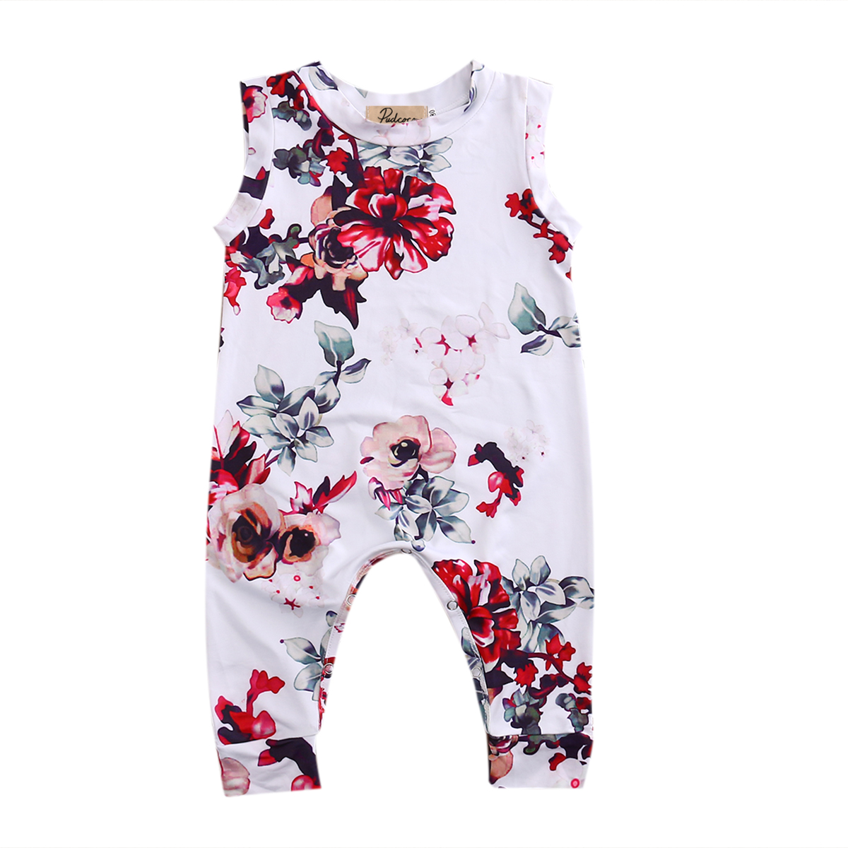Blommig Toddler Nyfödd Baby Boy Girl Kids Jumpsuit Romper Playsuit - Babykläder