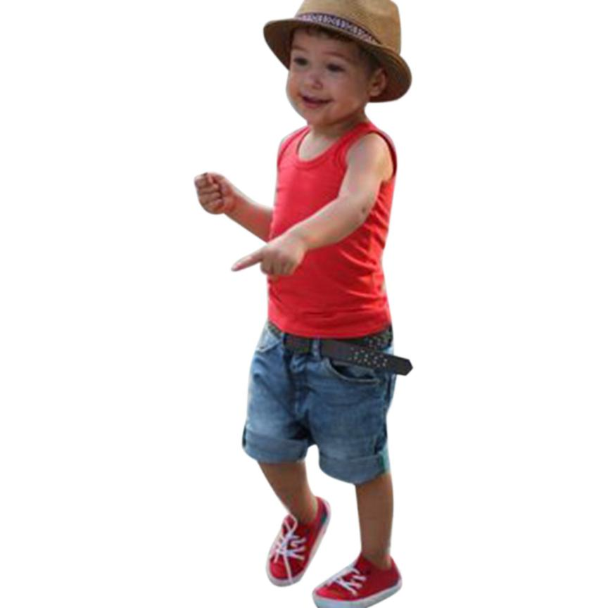 Mooistar #5066D Hot Selling Children Clothing 2PCS Toddler Kids Baby Boys Outfit Clothes Vest T-Shirt+Denim Shorts Pants 1Set