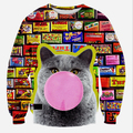 Autumn new fashion men 3D sweatshirts print cartoon Blow the balloon cat funny causual sweatshirt tops clothing