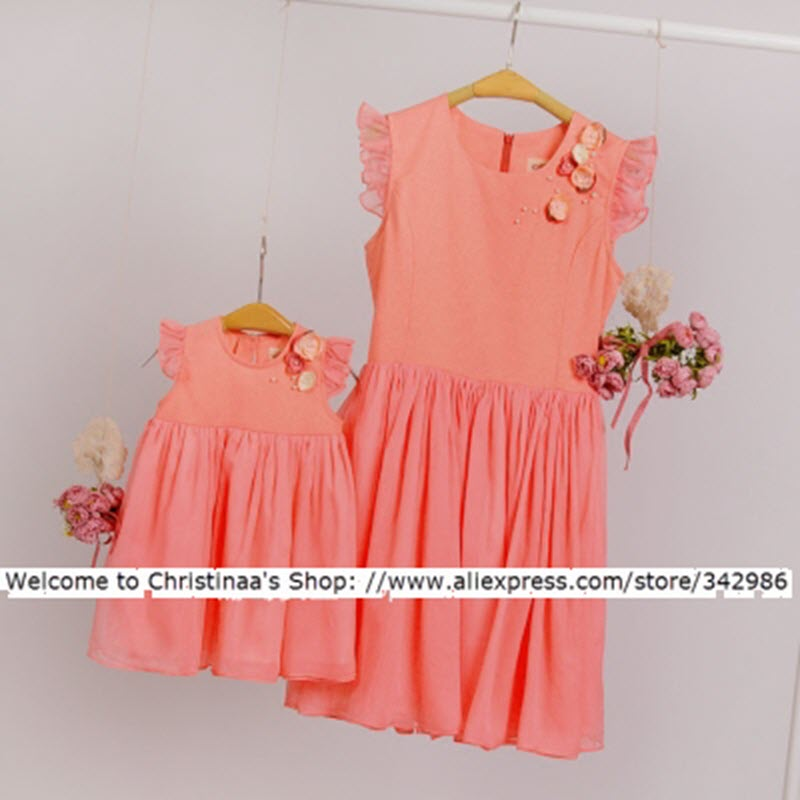 Family fitted family Plus Large size 3XL 4XL paternity mother daughter clothing dresses Orange pink Chiffon children's clothing clothing loves пурпурный 4xl