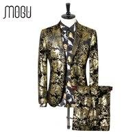 MOGU Tweedelige Pak Mannen 2017 Nieuwe Mode Goud Gedrukt mannen kleding Hoge Kwaliteit Slim Fit Pak En Broek Aziatische Maat Mens kostuum