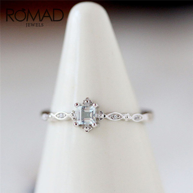 Romantic Crystal Blue Engagement Wedding Ring