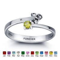 Personalized Engraved Promise Ring Engagement Promise Ring 925 Sterling Silver Couples Ring With Birthstones