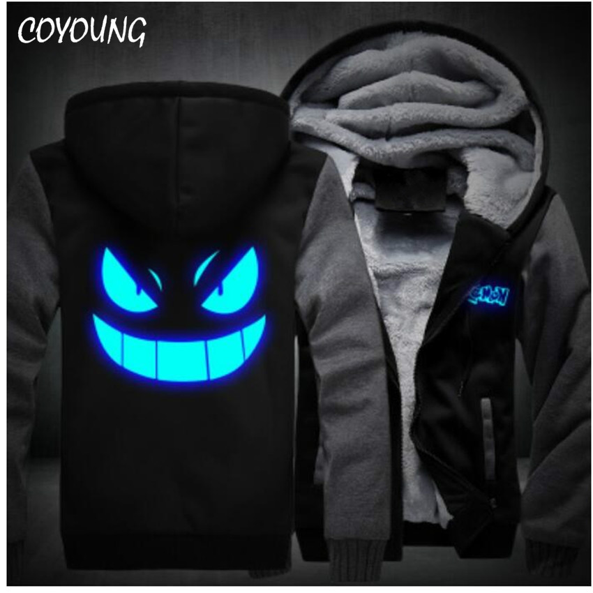 USA size Men Luminous Hoodies Anime Pocket  Gengar Zipper Hoody Fleece Sweatshirts Thicken Casual Clothing