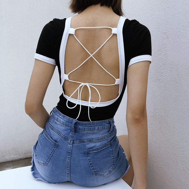 4b1bef3ee4a 2018 New Women Sexy Contrast Color Letter Print Bodysuit Back Bandage Body  Suit Playsuit Slim Fit Shot Sleeve Backless Jumpsuit