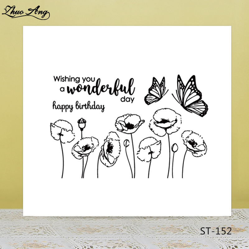 ZhuoAng Bee on flowers Transparent Clear Silicone Stamp/Seal for DIY scrapbooking/photo album Decorative clear stamp