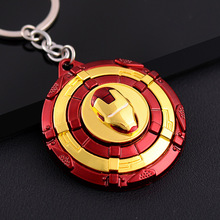 Anime Captain America Iron Man Shield Keychain Full Metal 360 Rotate Key Rings Women Men Purse Car Key Chains Pendant Chaveiro
