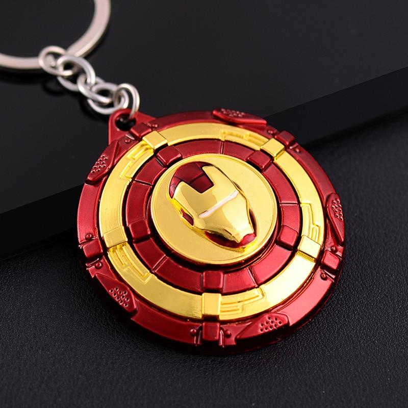 Anime Captain America Iron Man Shield Keychain Full Metal 360 Rotate Key Rings Women Men Purse Car Key Chains Pendant Chaveiro