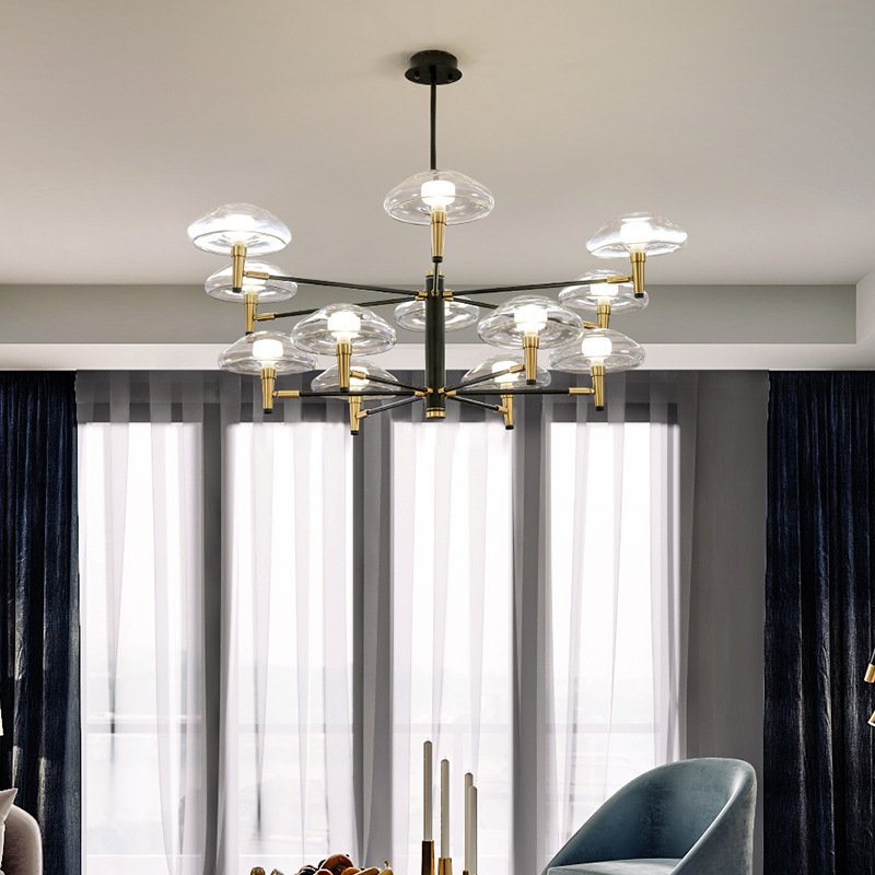 Image 2 - Postmodern LED chandelier lighting Iron Glass dining deco fixtures living room pendant lamps bedroom hanging lights-in Chandeliers from Lights & Lighting
