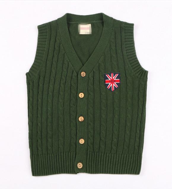 Adolescente 5-14Y Com Decote Em V Sem Mangas Camisola Colete Crianças Sweatercoat Crianças Malha Jaqueta Colete Roupas Casaco Primavera AS-1600-1
