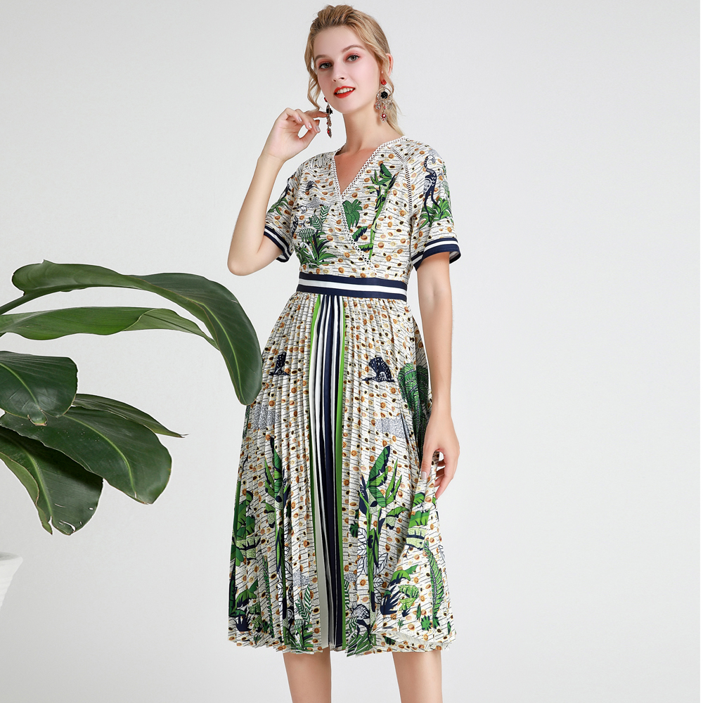 Red RoosaRosee Designer Runway Women Sexy V Neck Green Print Pleated Dress Summer Holiday Boho Midi