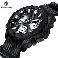 GOLDEN HOUR Military Sport Digital Watch Men Dual Time Quartz Mens Watches Top Luxury Luxury Waterproof Chronograph Wristwatch