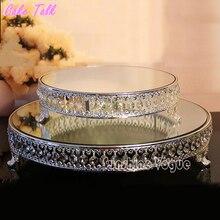 """18 zoll Kristall perlen tortenständer versilbert spiegel oberfläche dessert stehen 12 """"hochzeit patry tischdekoration backen werkzeug"""