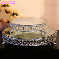 18 inch Crystal beads cake stand silver/gold plated mirror surface dessert stand 12'' wedding party table decoration baking tool