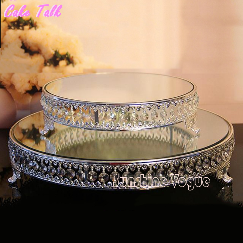 18 pouces cristal perles gâteau stand argent/plaqué or miroir surface dessert stand 12 ''fête de mariage table décoration cuisson outil