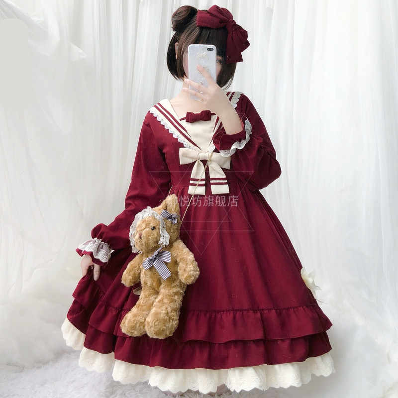Tea Party Japanese Style Girl Long sleeve Lolita Dress Bowknot JSK Carousel lolita cosplay Lace dress Maid Costume dress