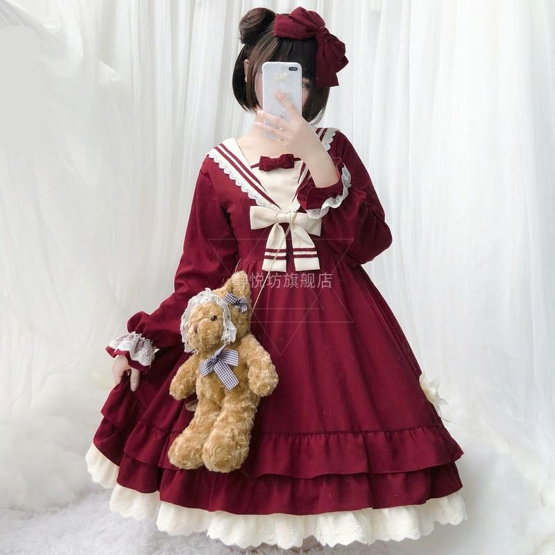 Tea Party Style japonais fille à manches longues robe Lolita Bowknot JSK carrousel lolita cosplay dentelle robe de chambre Costume robe