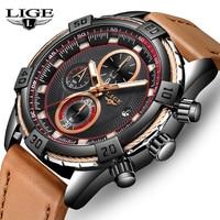 LIGE New Men'sTop Brand Luxury Watches Fashion Casual Sport Watch Men Leather Waterproof Watch Business Clock Relogio Masculino