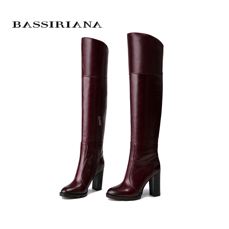 BASSIRIANA オーバーザ膝革ハイヒールブーツ冬の靴の女性黒ワイン赤ジップサイズ 35 40  グループ上の 靴 からの 膝上 ブーツ の中 3