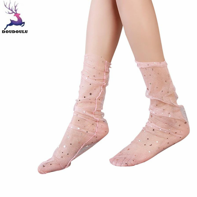 3788426dc61 DOUDOULU Glitter Star Mesh Woman transparent socks women shiny Summer Ankle  Socks Creative Sock calcetines mujer