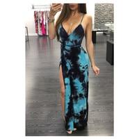 2018 European and American sling deep V collar sexy slim lace dress printing women fashion blue spaghetti strap dress