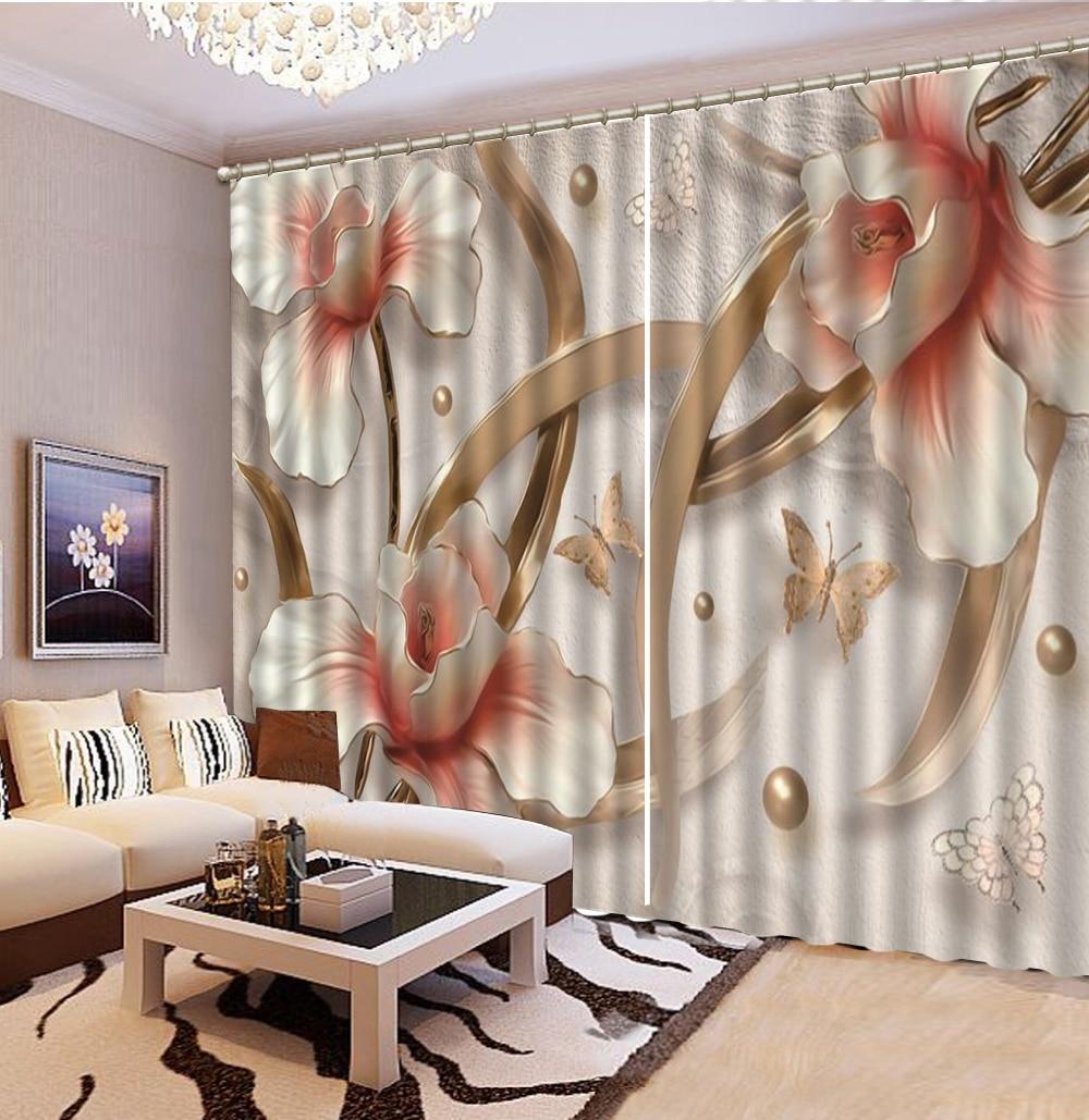 Rideau personnalisé 3D en relief rose fleurs romantique papillon 3d Floral rideaux salon chambre belle pratique occultant C - 4