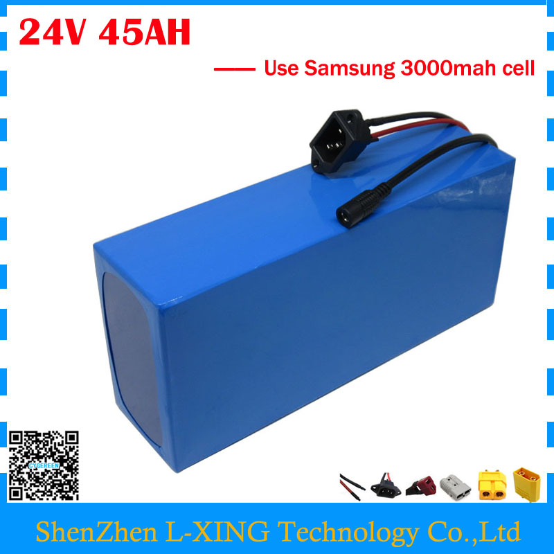 Free customs duty 24V lithium battery pack 24V 45AH scooter battery 24V bicycle battery use Samsung 3000mah cell with 3A Charger free customs taxes super power 1000w 48v li ion battery pack with 30a bms 48v 15ah lithium battery pack for panasonic cell
