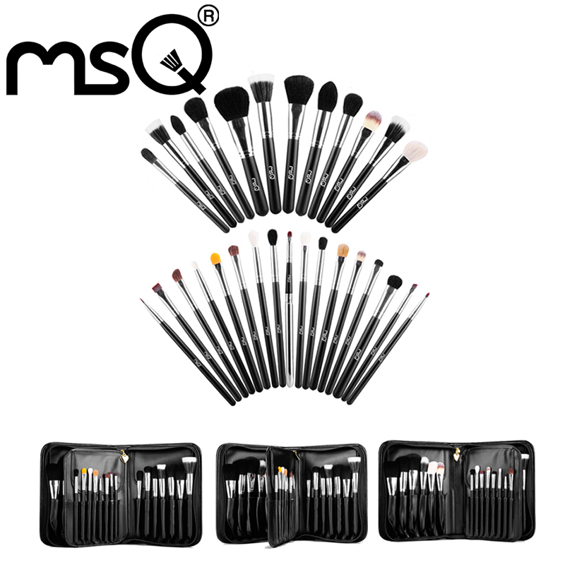 ФОТО MSQ Pro Makeup Brushes Set 29pcs High Quality Animal Hair Foundation Powder Eyeshadow Make Up Brush Kit With PU Leather Case