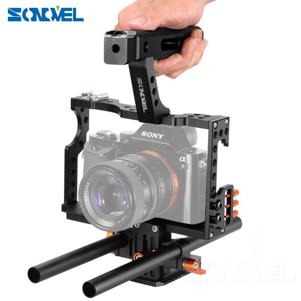 Sonovel 15mm Rod Rig DSLR Camera Video Cage Kit Stabilizer + Top Handle Grip for Sony A7 II A7RII A7SII A6300 A6000/GH4/EOS M5 dslr rod rig camera video cage kit