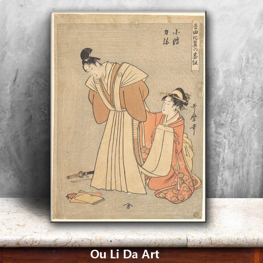 classical Japan kimono women man oil painting canvas painting ...