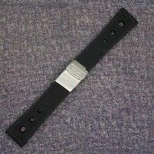 Nuevos Mens reloj de buzo deportivo a prueba de agua banda correa 24 mm negro caucho de silicona correa cierre desplegable