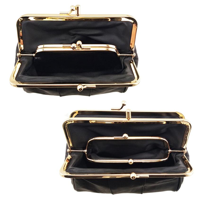 BELLO TUTTI Women Coin Purse GenuineLeather Card Holder Wallet Metal Frame Change Purse ForGirls Original Small Lipstik Coin Bag