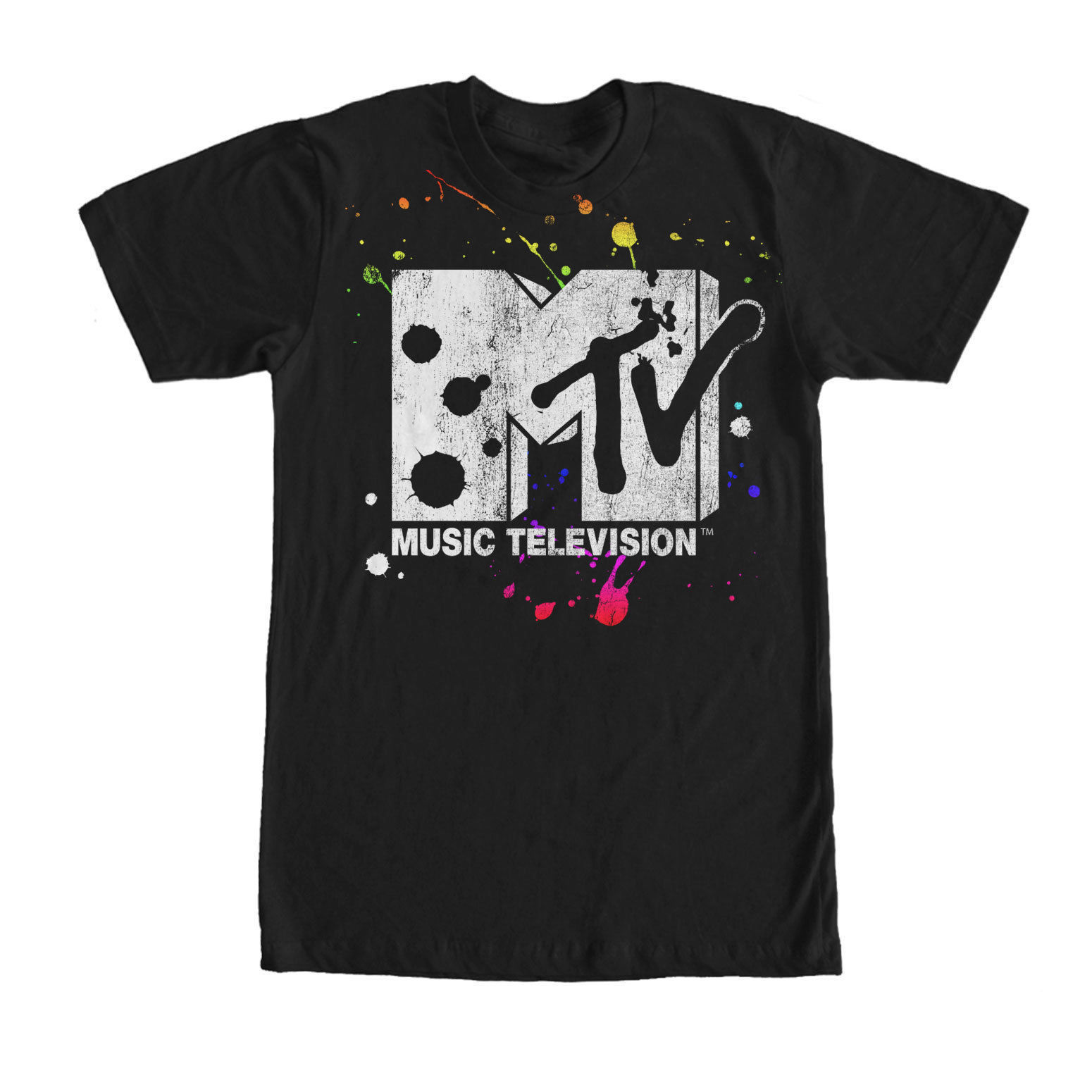 6197fdaa338a Detail Feedback Questions about MTV Paint Splatter Logo Mens Graphic T Shirt  Black M L 234XL Cool Casual pride t shirt men Unisex New Fashion tshirt  Loose ...