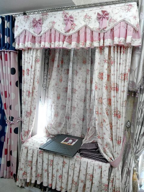 Kid Curtains home application daughter curtain pink flower finished curtain tulle cortinas cortinas with valance bead curtains