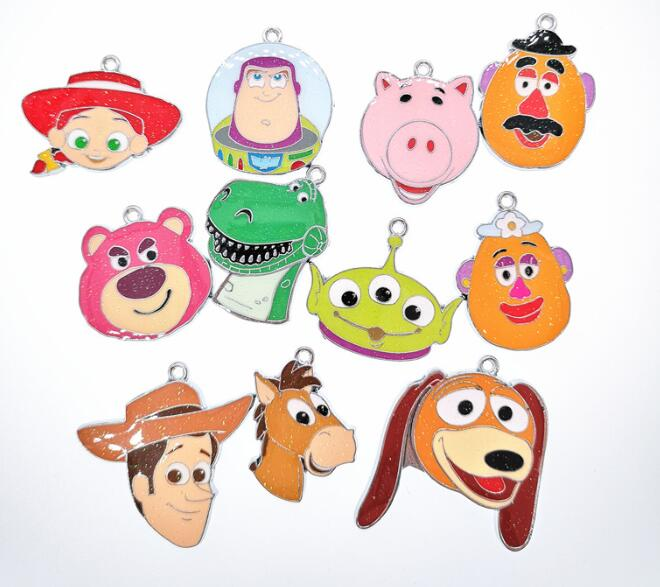 New 10pcs Cartoon Toy Story Mix Enamel Metal Charm Necklace Pendants DIY Jewelry Making Party Favors