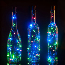 10pcs / lot 75cm 1M 2M LED Kobber Wire String Light med flaske Stopper til Glass Craft Bottle Valentines Wedding Decoration lys