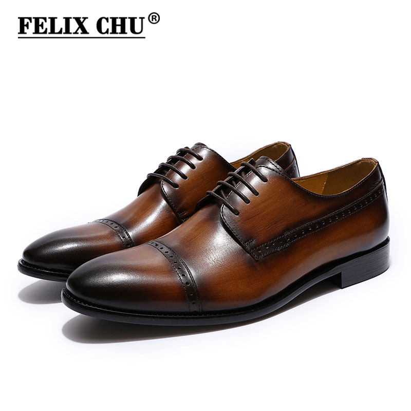 FELIX CHU Men's Cap Toe Brogue Derby Shoes Black Brown Genuine Leather Lace Up Men Luxury Dress Shoes Male Oxford New Shoes men luxury brand python leather dress shoes male high grade full leather oxford shoes lace up brown dress men free ship dhl page 1