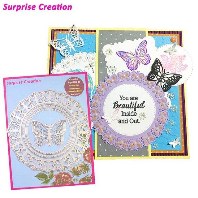 Surprise Creation Cutting dies Frame 3D butterfly Scrapbooking DIY ...
