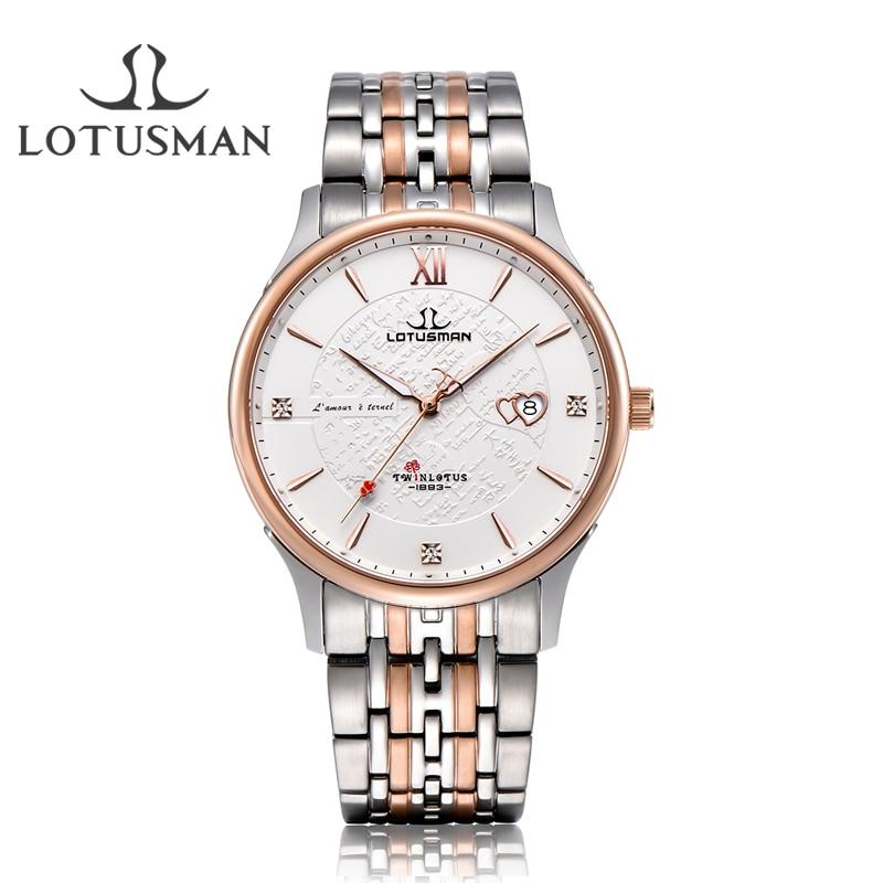 LotusmaN luxury lovers' watch Men Women stainless steel quartz watch sapphire wristwatch Elegant Dress Watch relogio Gift ML902A lotusman dl869twa women quartz watch