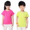 Crianças T-shirt Curtos Crianças de Verão de Algodão Modal Tops New Casual Crianças Roupas Enfants T-Shirts com Bolso Vestido Infantil