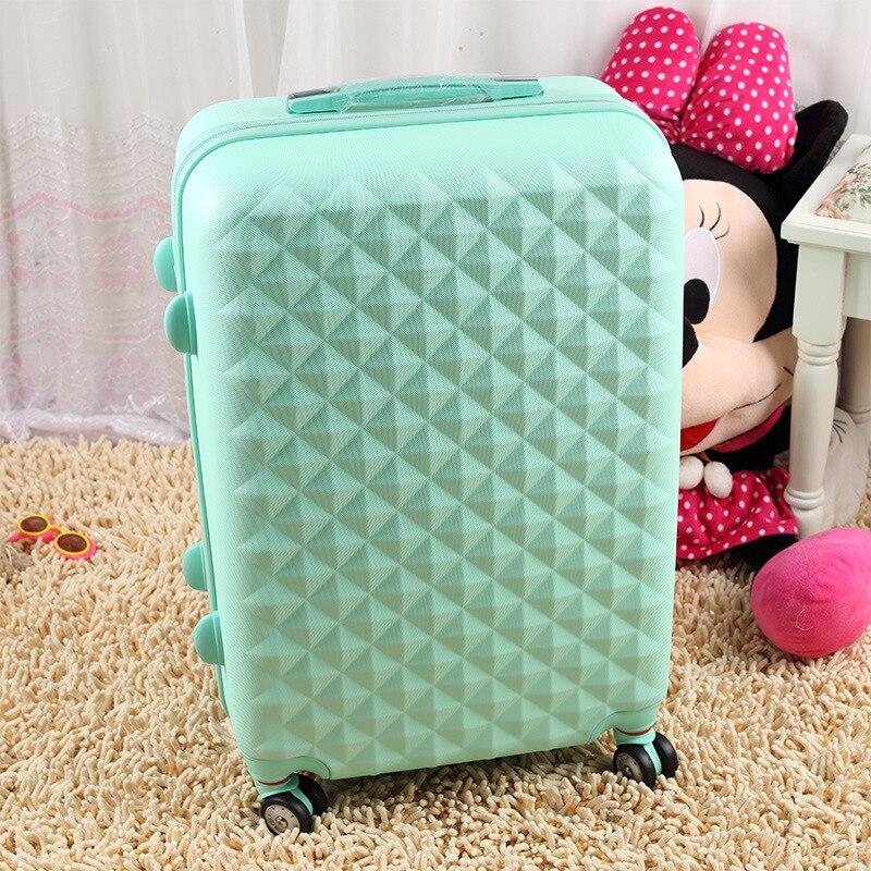 Оптовая продажа и кольцо! 14 20 22 24 26 28 розовый зеленый ярко-розовый Цвет ABS ПК женский и мужской Универсальный ход колеса багажные сумки наборы...